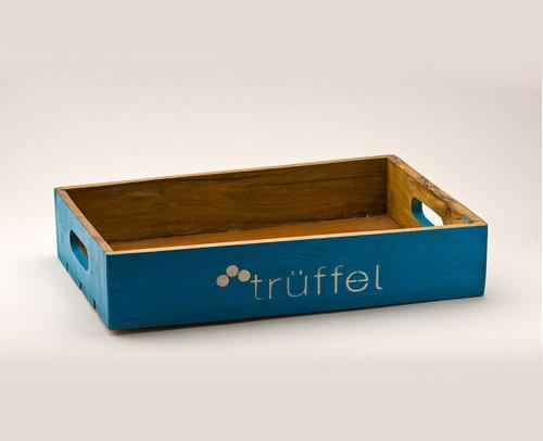 Holz Tablett in Blau